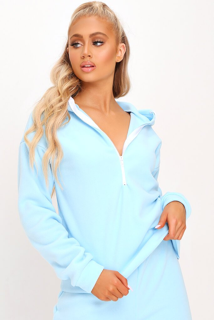 Pastel Blue Fleece Half Zip Boxy Hoody