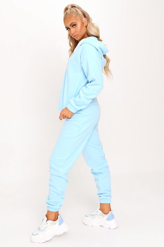 Pastel Blue Fleece Half Zip Boxy Hoody view 3