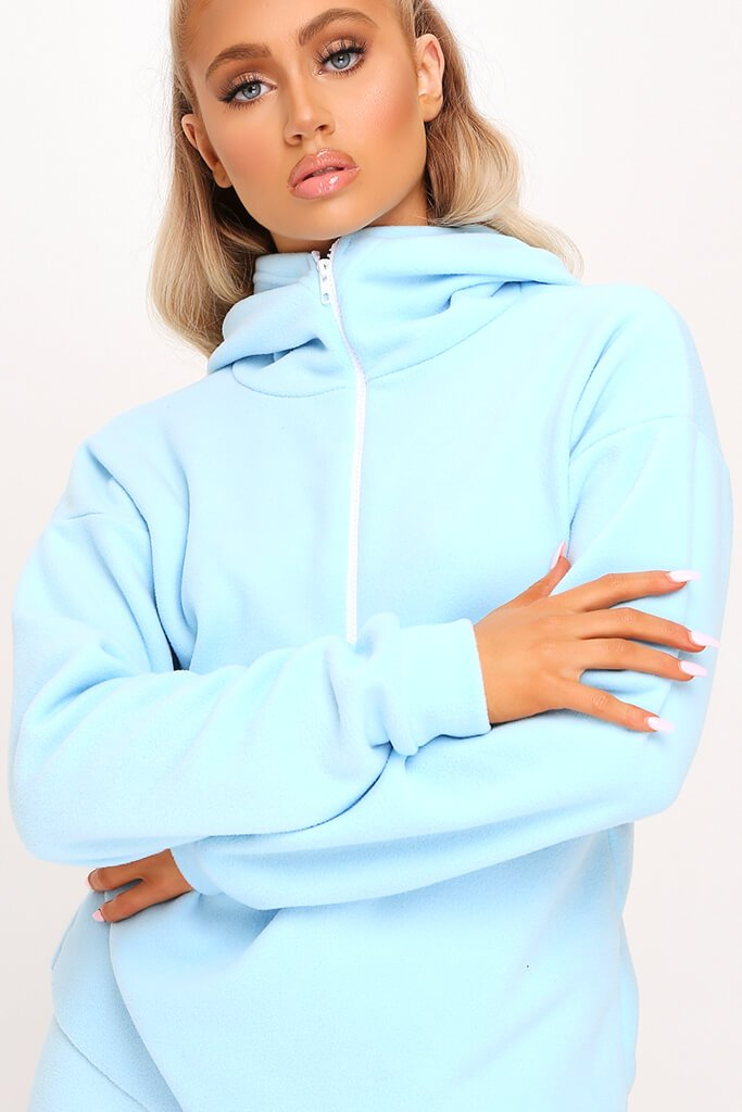 Pastel Blue Fleece Half Zip Boxy Hoody view 4