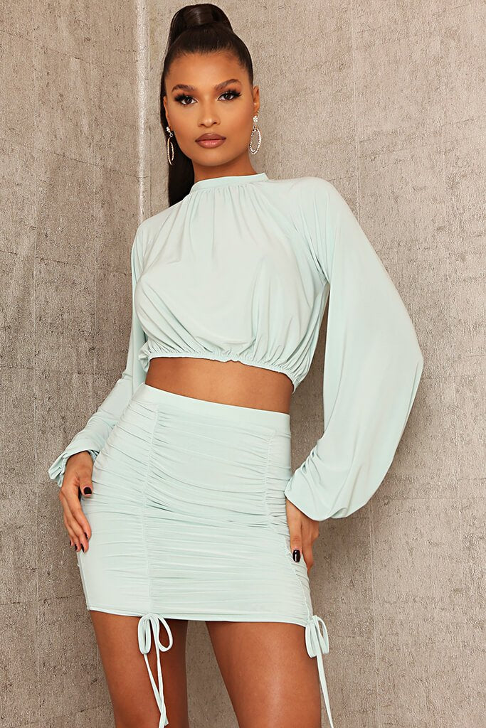Mint Green Slinky High Neck Puff Sleeve Crop Top view main view