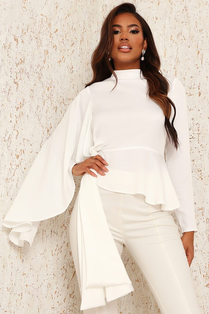 White Premium Satin High Neck Drape Blouse