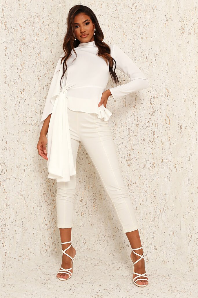 White Premium Satin High Neck Drape Blouse view 2
