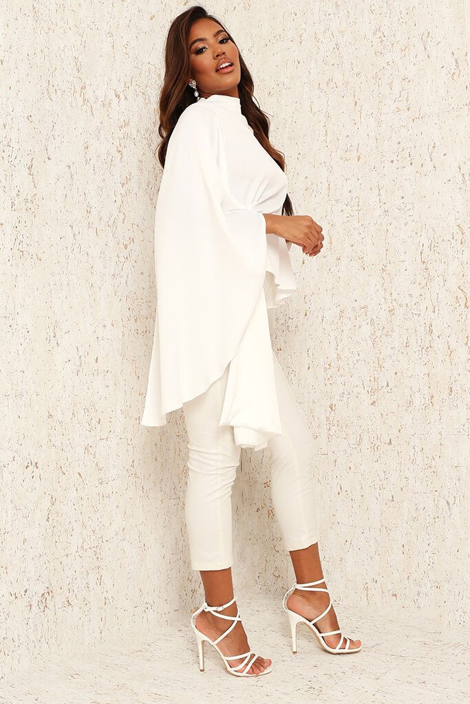 White Premium Satin High Neck Drape Blouse view 3