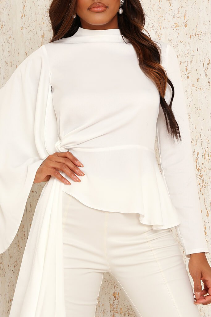 White Premium Satin High Neck Drape Blouse view 4
