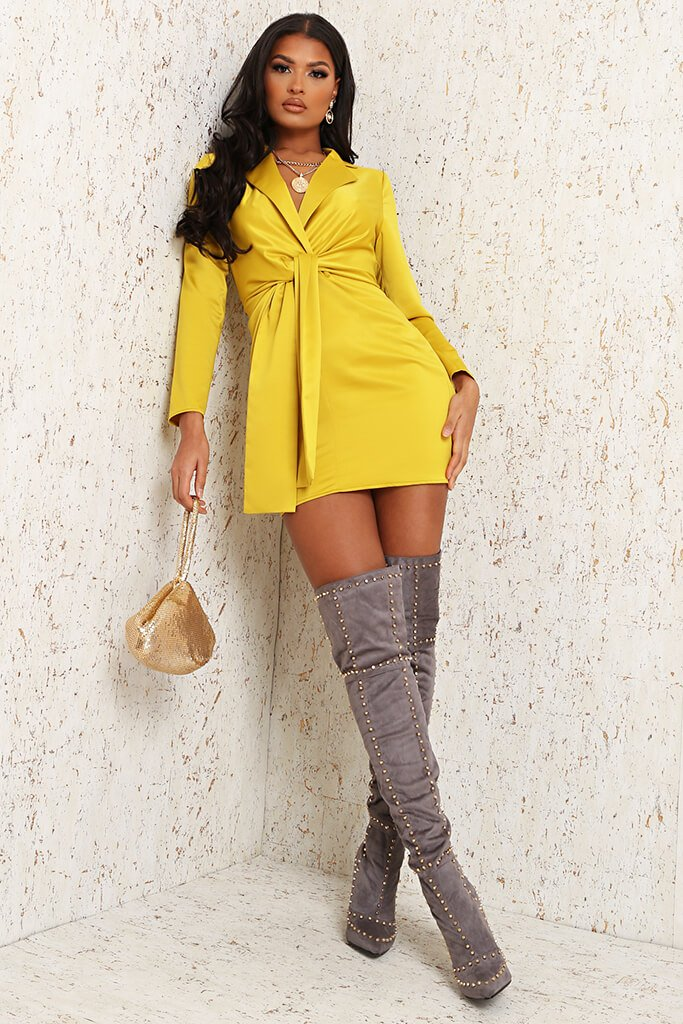 Yellow Premium Satin Knot Front Plunge Blazer Dress view 2