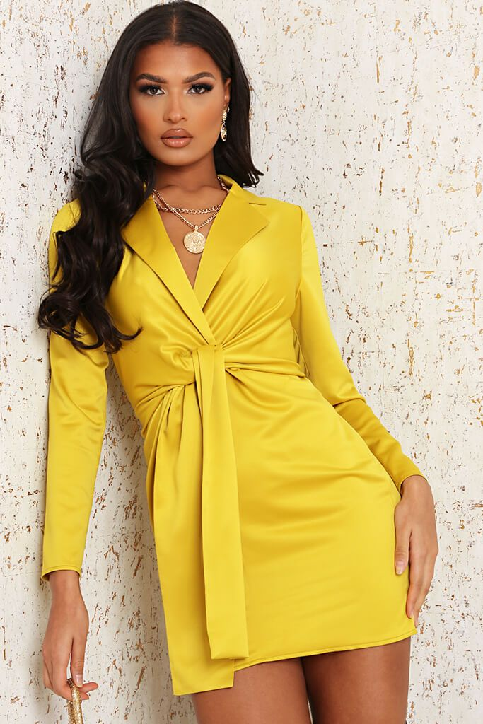 Yellow Premium Satin Knot Front Plunge Blazer Dress