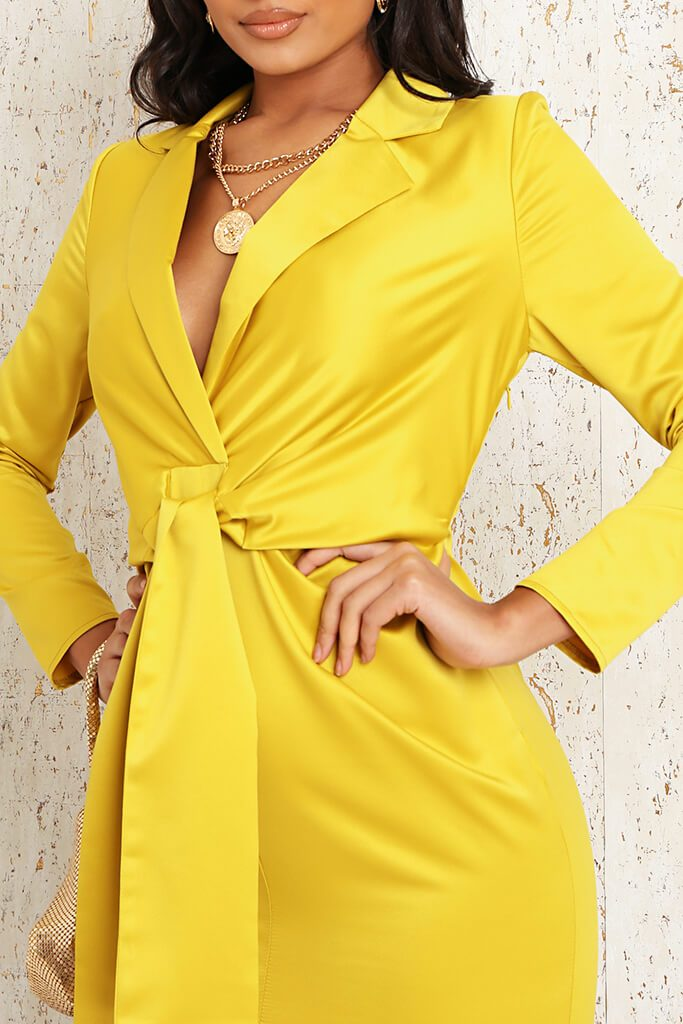 Yellow Premium Satin Knot Front Plunge Blazer Dress view 4