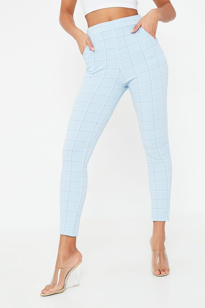 Dusty Blue Check Skinny Trouser view 2