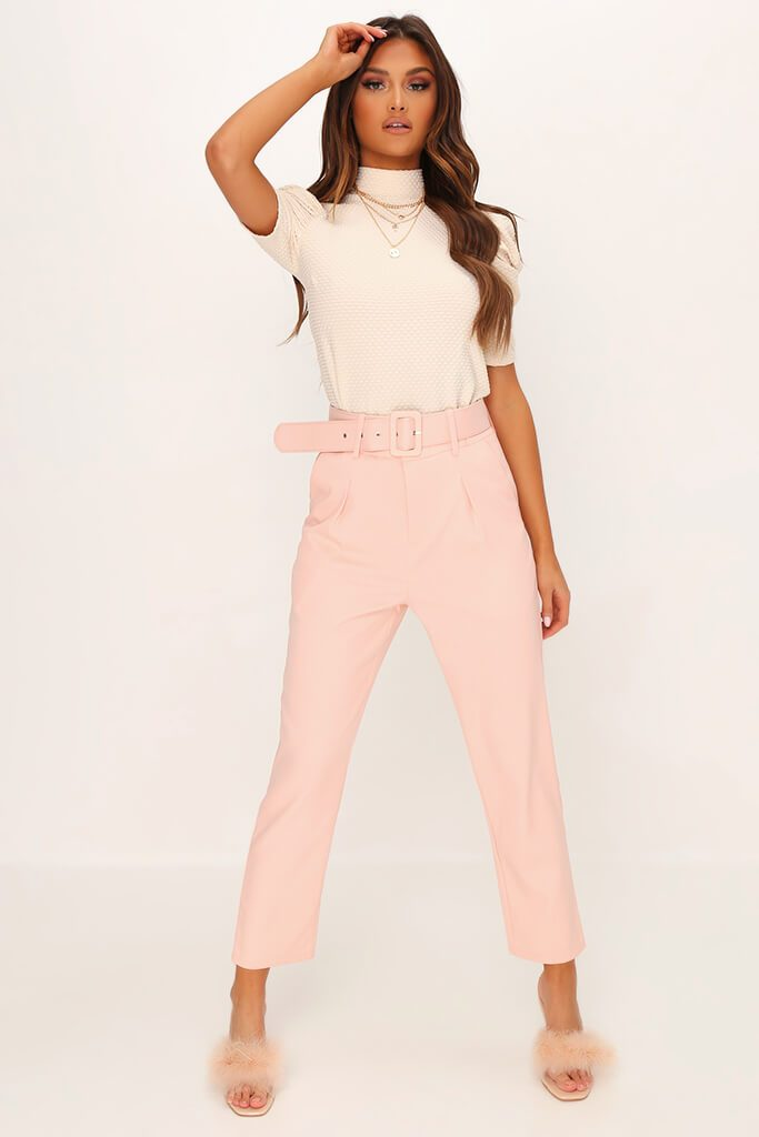Dusky Pink Belted Woven Straight Leg Trouser