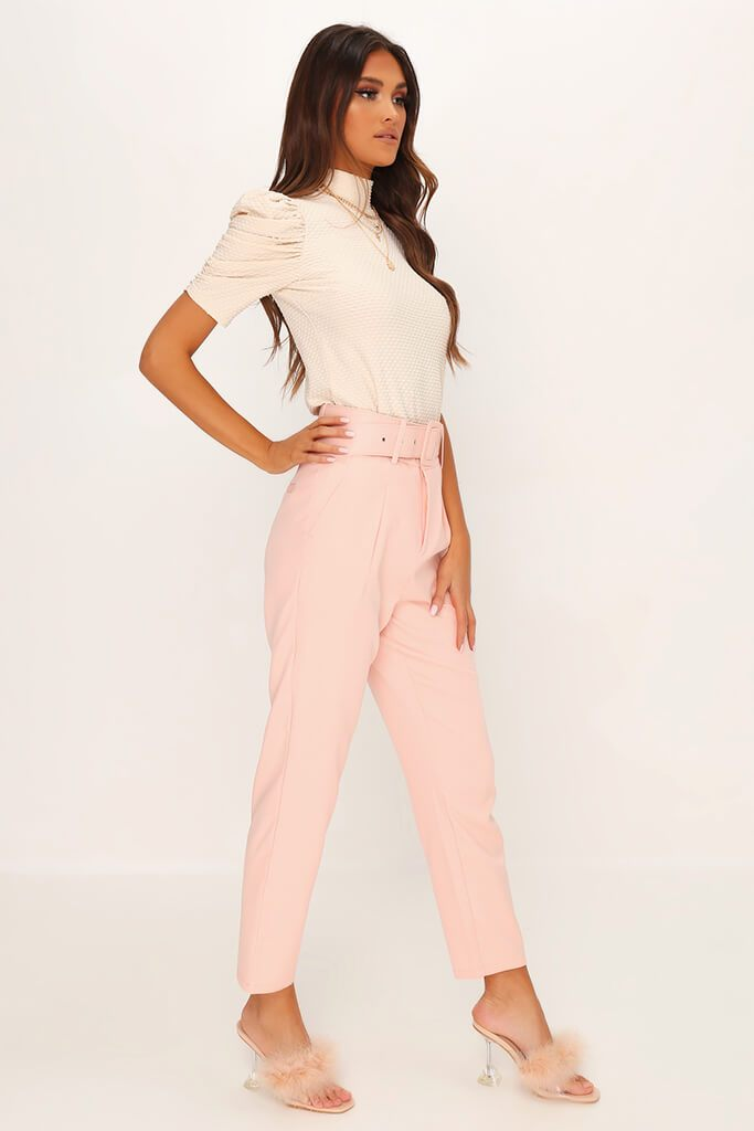 Dusky Pink Belted Woven Straight Leg Trouser view 3