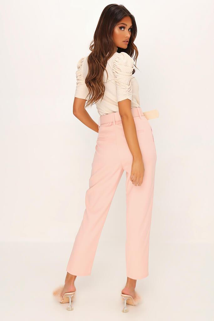 Dusky Pink Belted Woven Straight Leg Trouser view 5