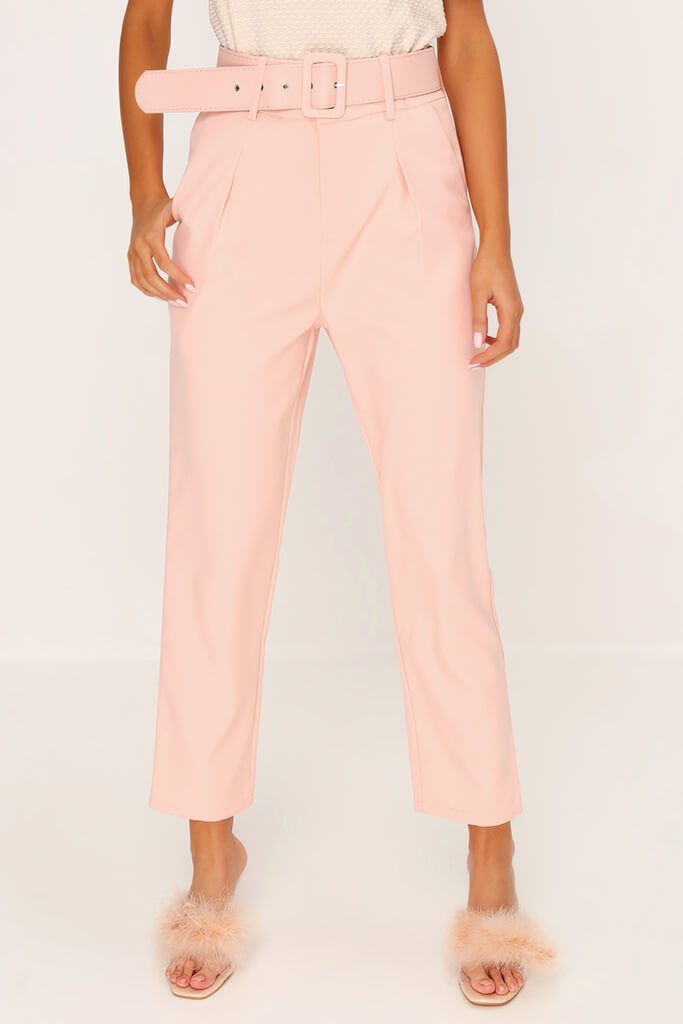 Dusky Pink Belted Woven Straight Leg Trouser view 2