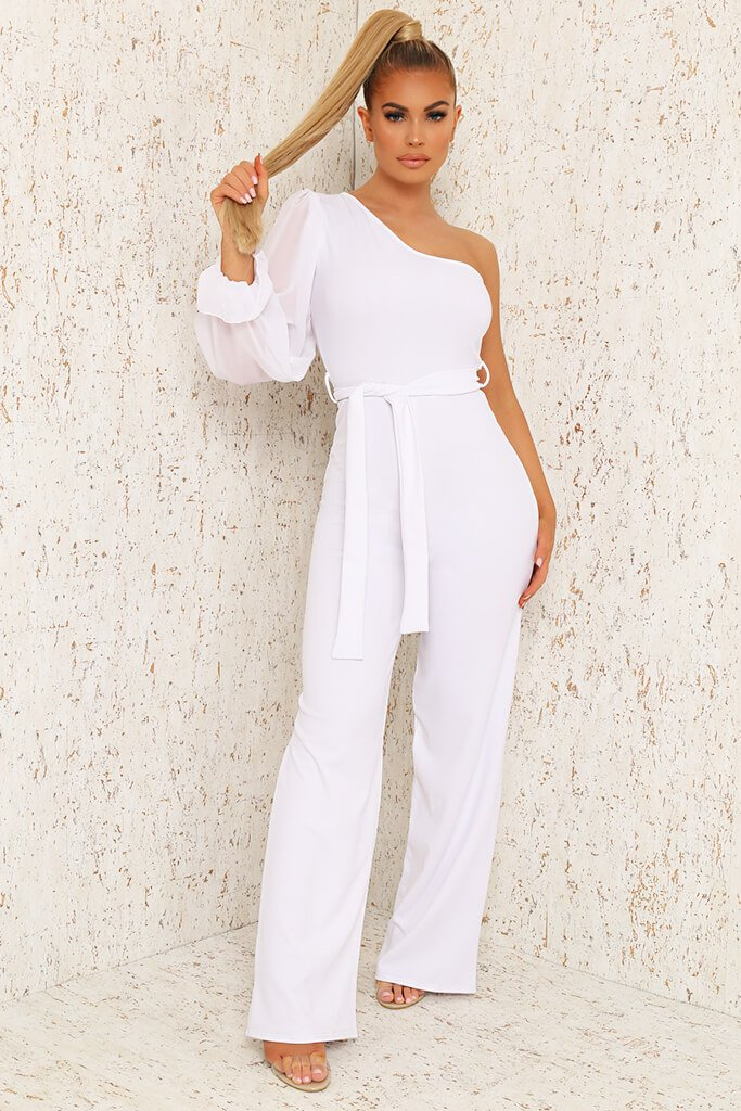 White Mesh One Shoulder Wide Leg Jumpsuit view main view
