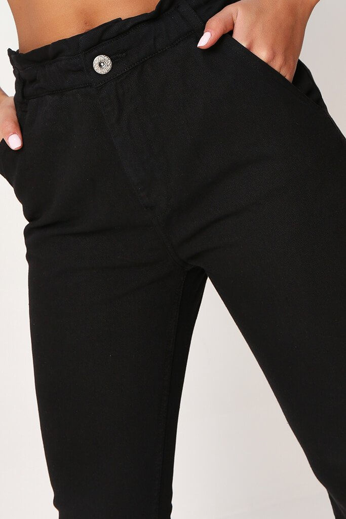 Black 90'S Elasticated Waist Jeans view 4
