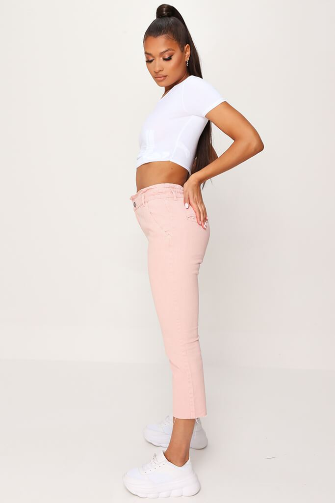 Pink 90'S Elasticated Waist Jeans view 3
