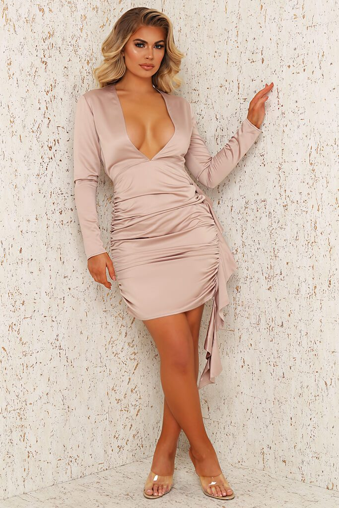 Champagne Premium Satin Plunge Ruched Shirt Bodycon Dress view 2