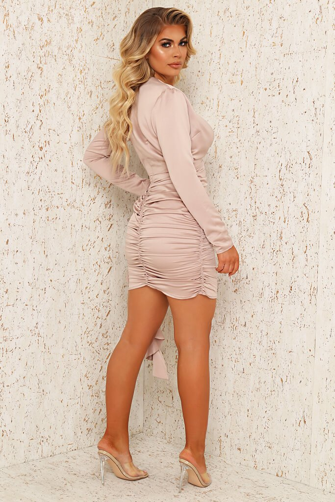 Champagne Premium Satin Plunge Ruched Shirt Bodycon Dress view 3