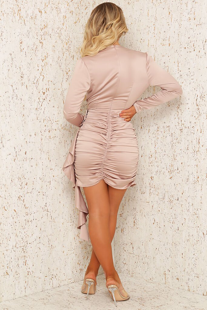 Champagne Premium Satin Plunge Ruched Shirt Bodycon Dress view 5
