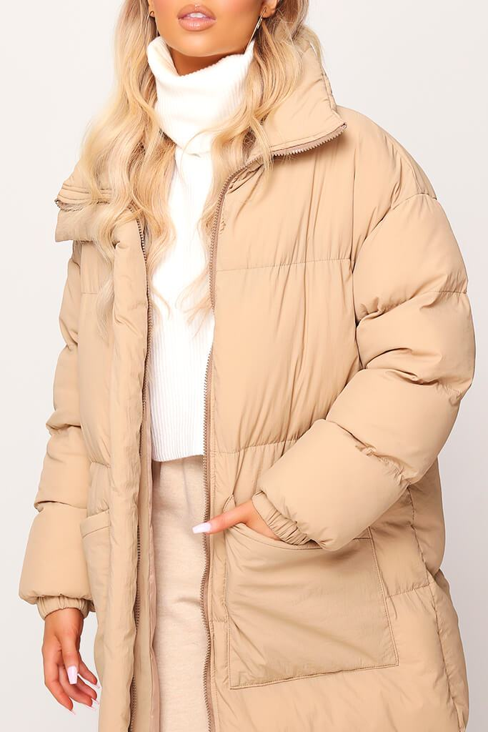 Stone Long Padded Coat view 4