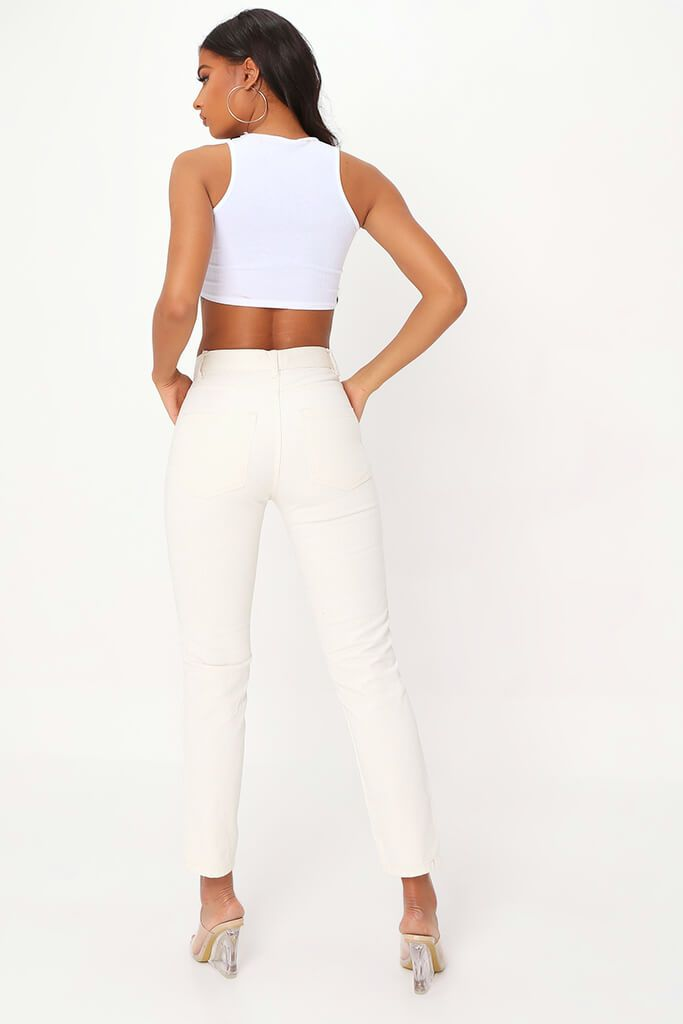 Ecru High Waisted Straight Leg Jean view 5