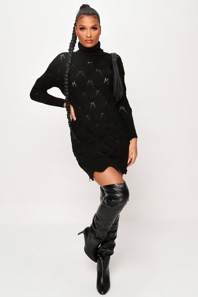 Black Bubble Knitted Dress view 2
