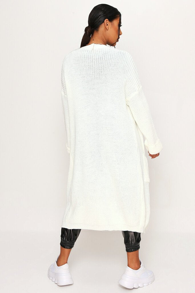 Cream Long Knitted Cardigan view 5