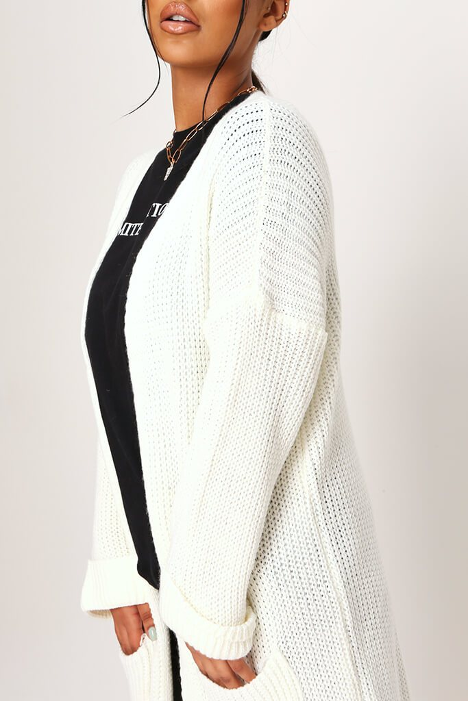 Cream Long Knitted Cardigan view 4