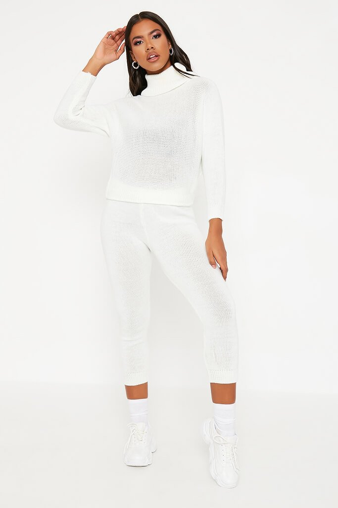 Cream Roll Neck Knitted Lounge Set