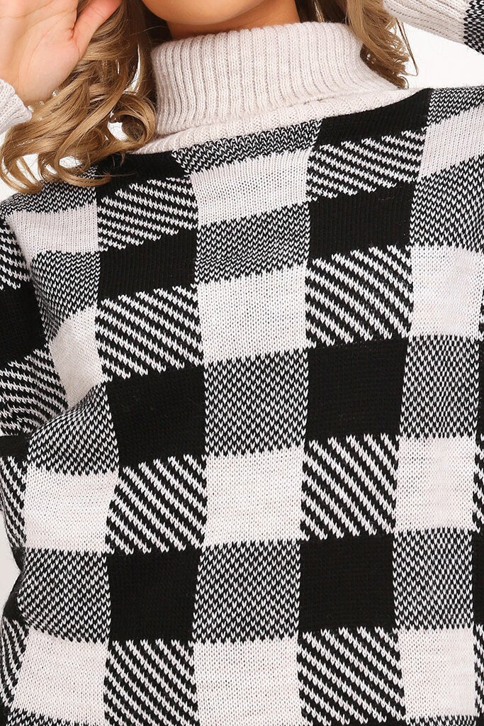 Black Check Knitted Jumper Dress view 4