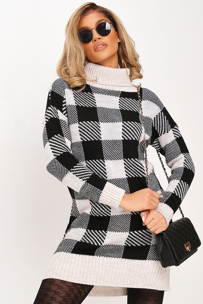 Black Check Knitted Jumper Dress