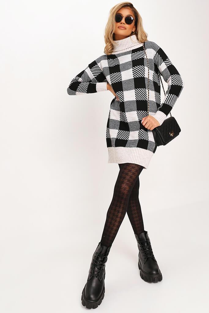 Black Check Knitted Jumper Dress view 2