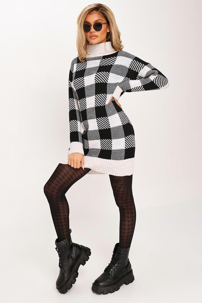 Black Check Knitted Jumper Dress view 3