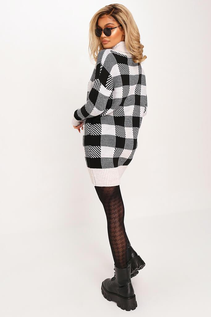 Black Check Knitted Jumper Dress view 5