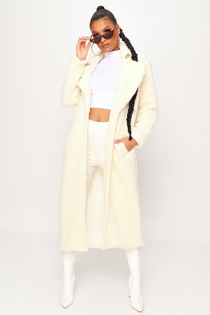 Cream Longline Borg Coat