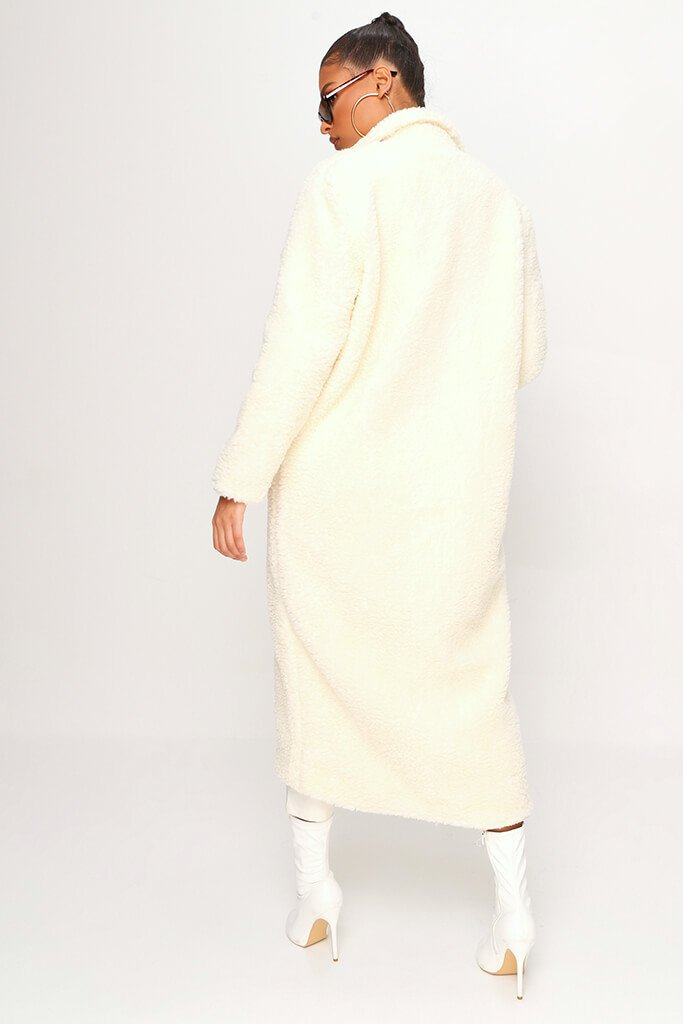 Cream Longline Borg Coat view 5