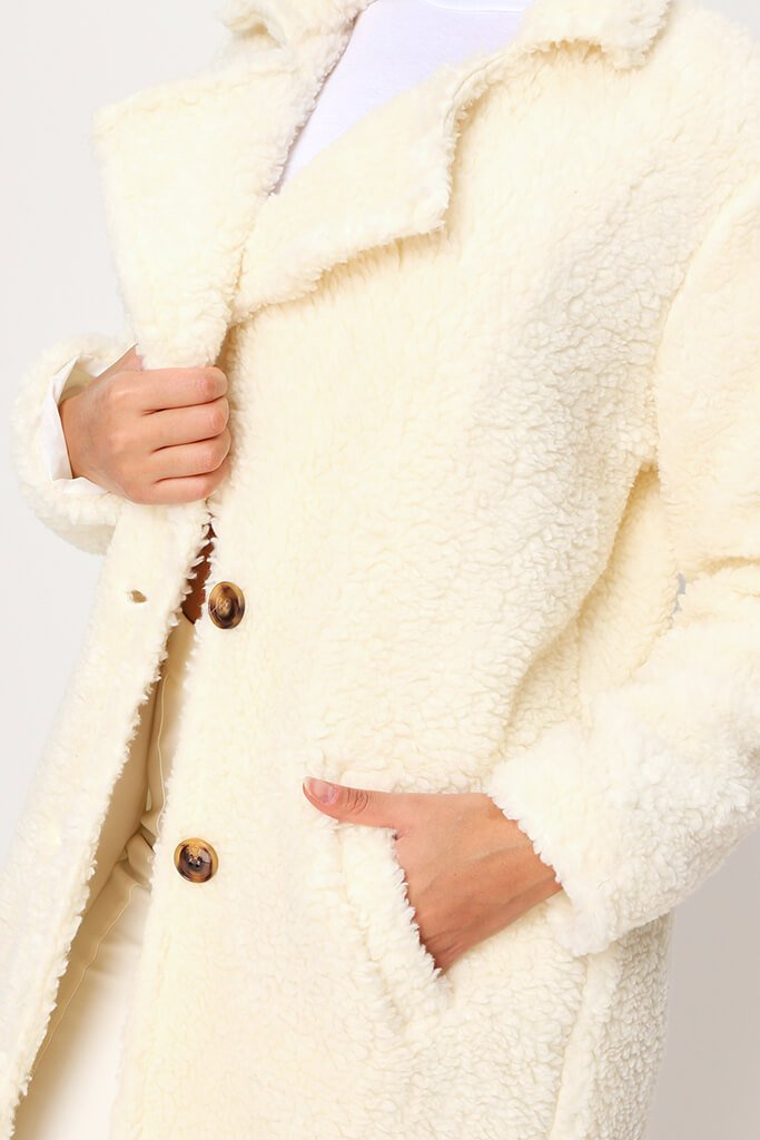 Cream Longline Borg Coat view 4