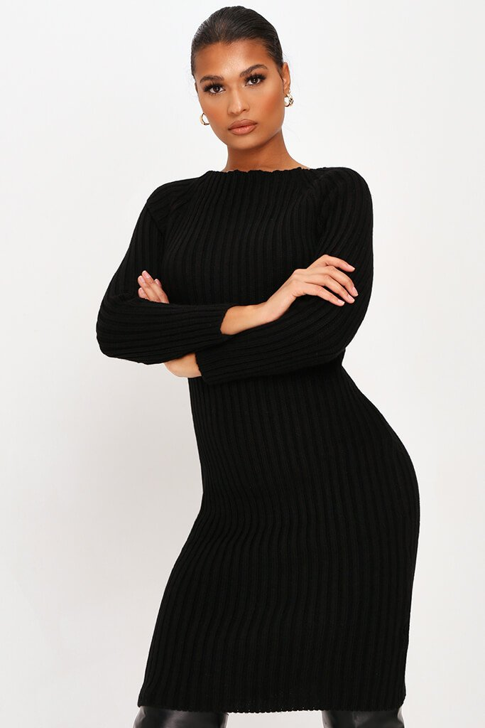 Black Knitted Twist Back Midi Dress view 2