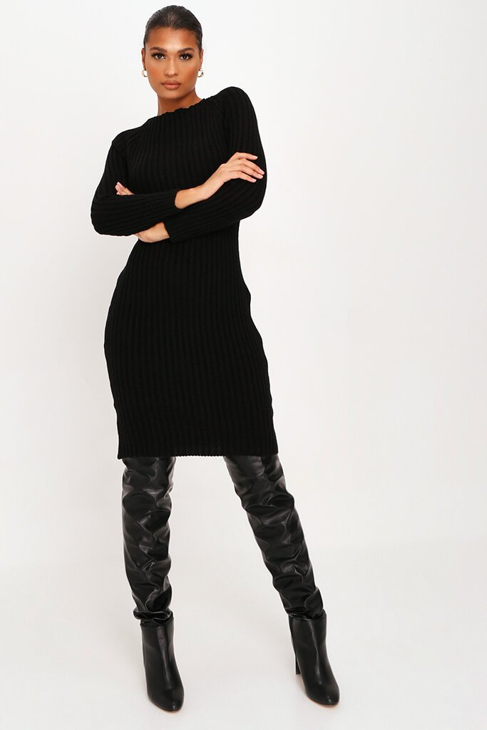 Black Knitted Twist Back Midi Dress view 5