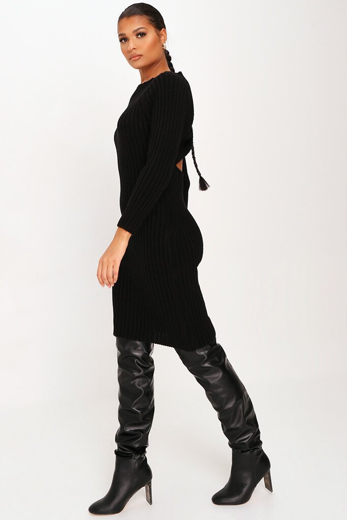 Black Knitted Twist Back Midi Dress view 3