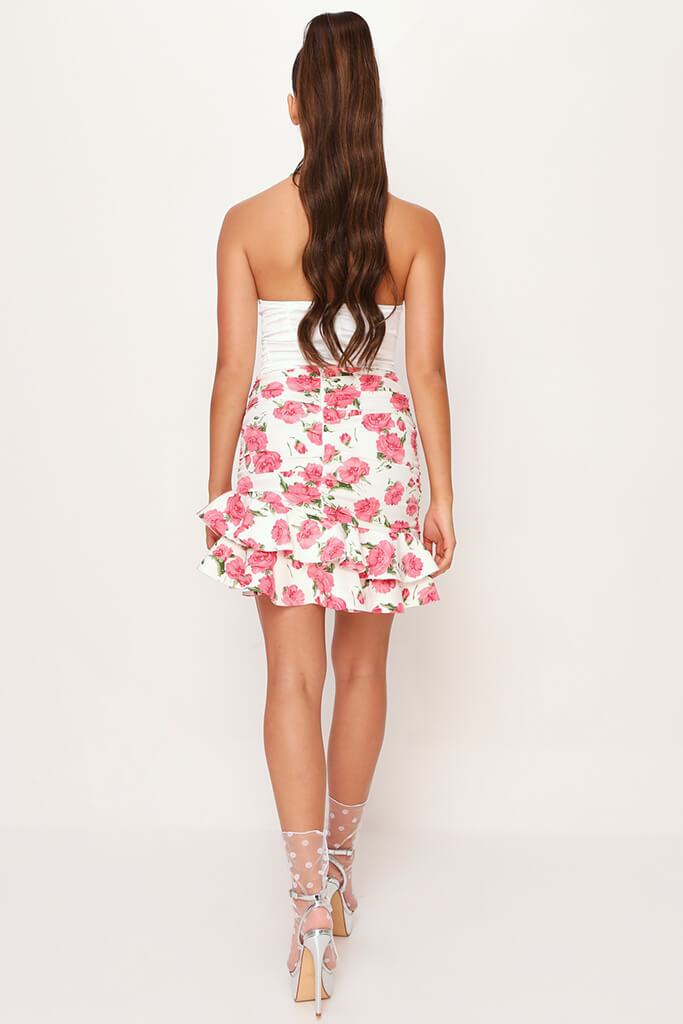 White Floral Frill Skirt view 5