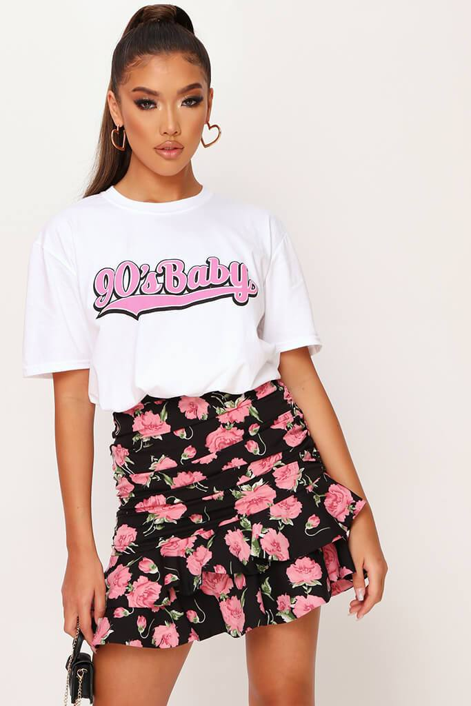 Black Floral Frill Skirt view main view
