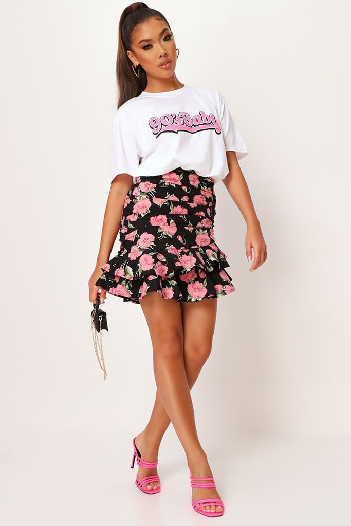 Black Floral Frill Skirt view 2