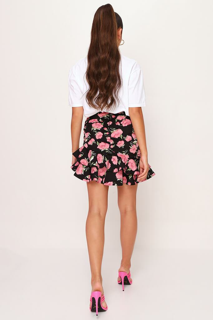 Black Floral Frill Skirt view 5