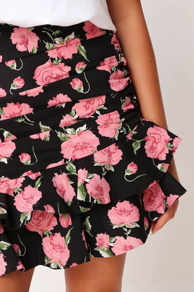 Black Floral Frill Skirt view 4