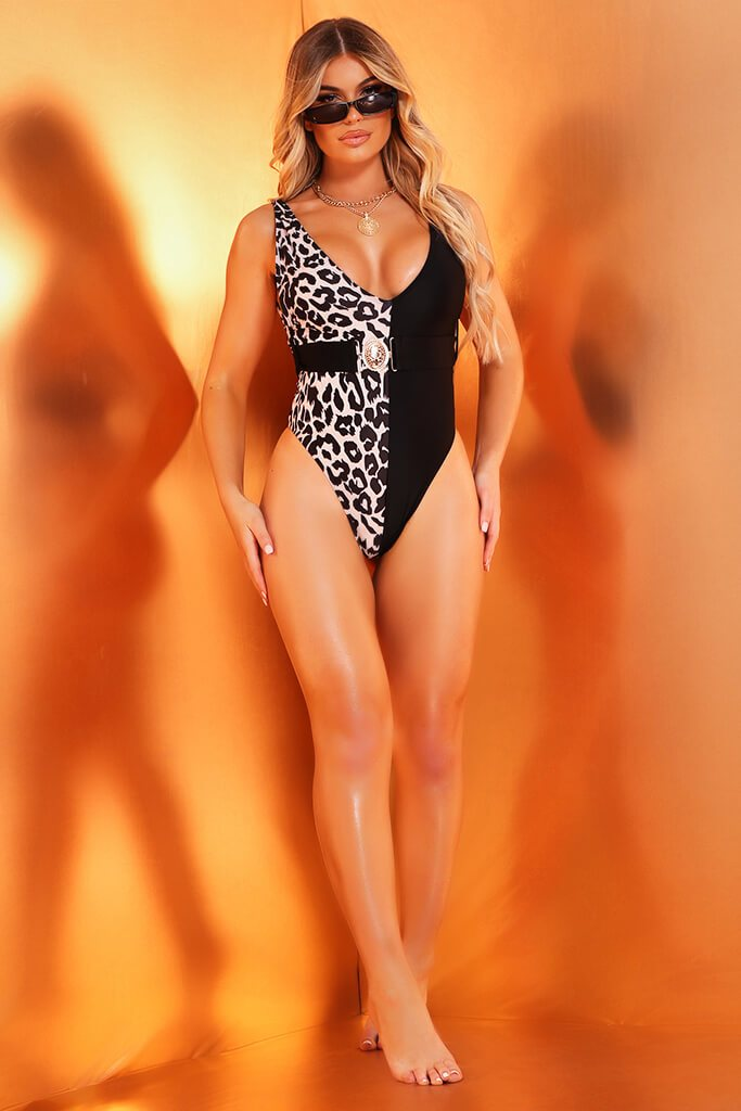 Black Leopard Swimsuit With Belt And Metal Clasp