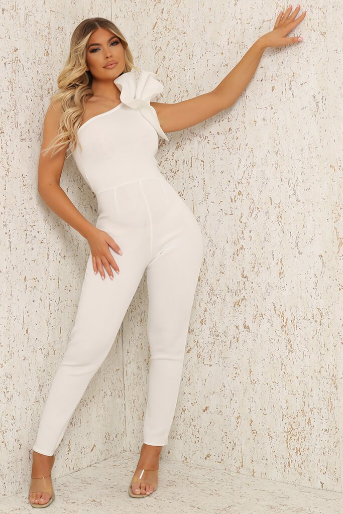 White Frill Shoulder Jumpsuit view main view