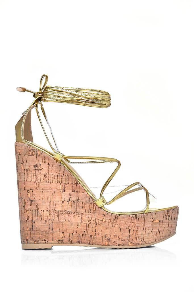 Gold Strappy Cork Wedge Heel