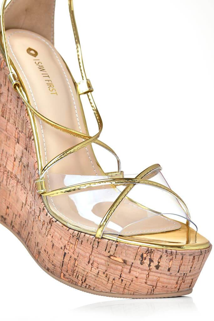 Gold Strappy Cork Wedge Heel view 2