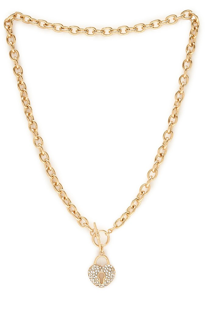 Gold Diamante Heart Lock Chain Necklace view 3