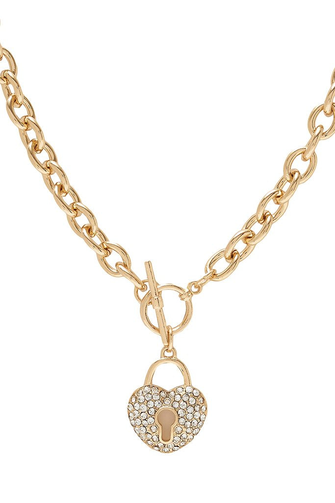 Gold Diamante Heart Lock Chain Necklace view 4